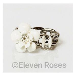 CHANEL White Enamel Camellia Flower Chain Ring